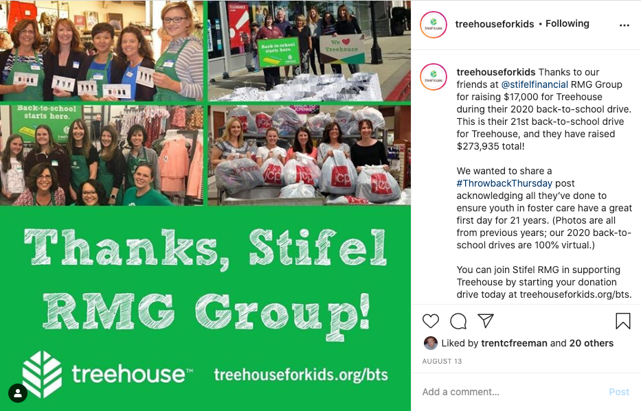 example of social media post from treehouse for kids