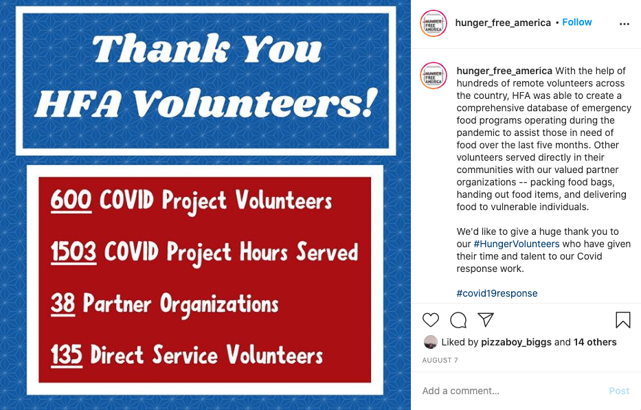 example of nonprofit social media post from hunger free thanking volunteers