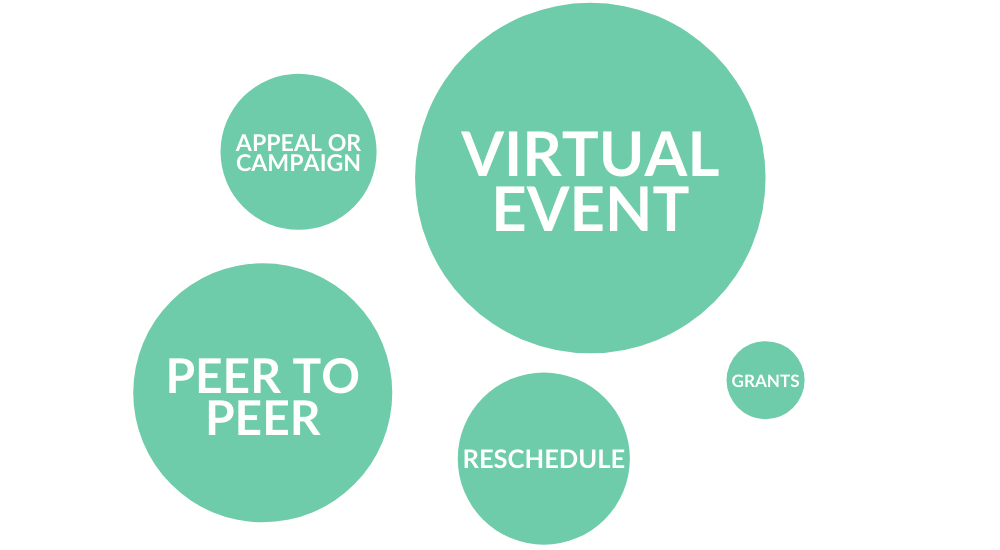 infographic fundraising alternatives to in-person events: virtual events, peer-to-peer campaigns, reschedule in-person event, other appeal/campaign, apply for grants