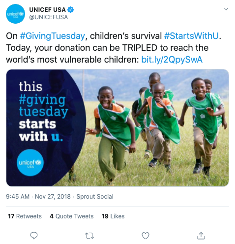Example of nonprofit social media post from UNICEF