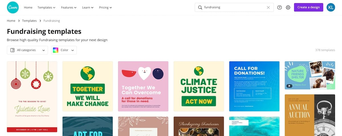 Screenshot of Canva graphic design fundraising templates