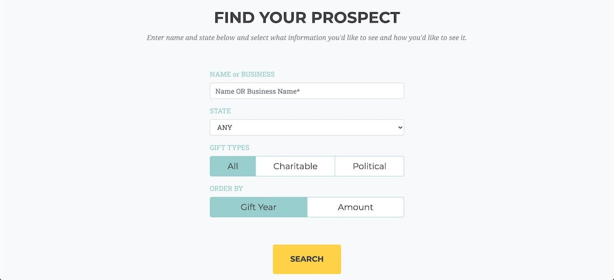 Product image of DonorSearch free donor prospect tool