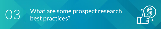 prospect research three header image