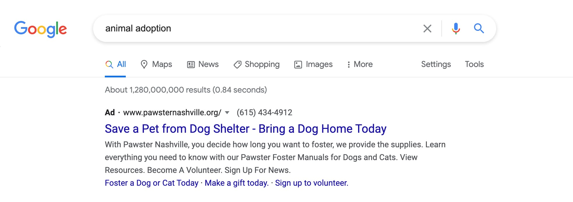 Example of a Google Ad Grant