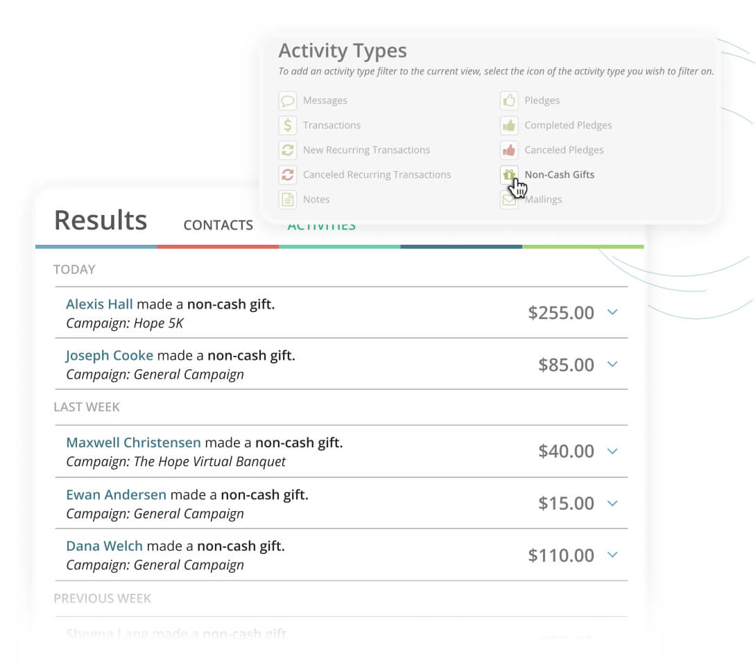 Kindful let's you pull a report of in-kind contributions simply by clicking on the
