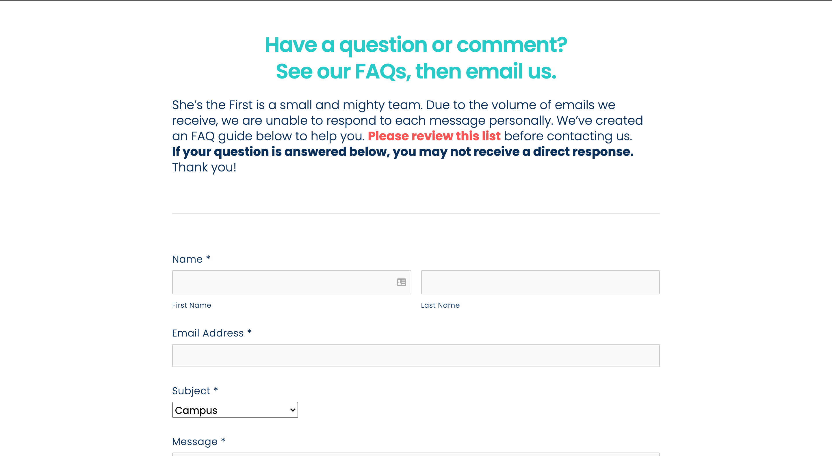screenshot of shes the first faq website page