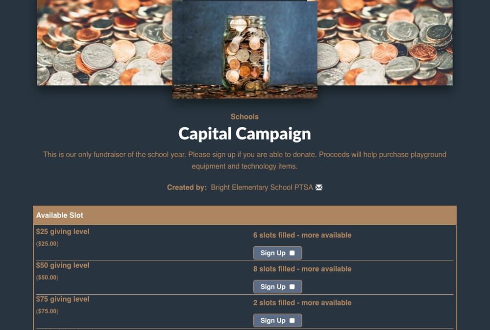 Example of using SignUpGenius to collect donations