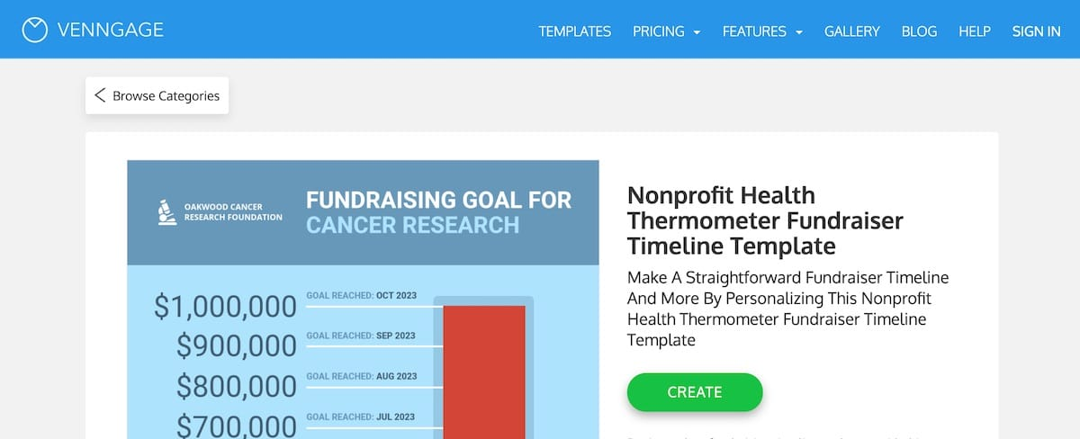 Screenshot of a Venngage fundraising thermometer graphic design template
