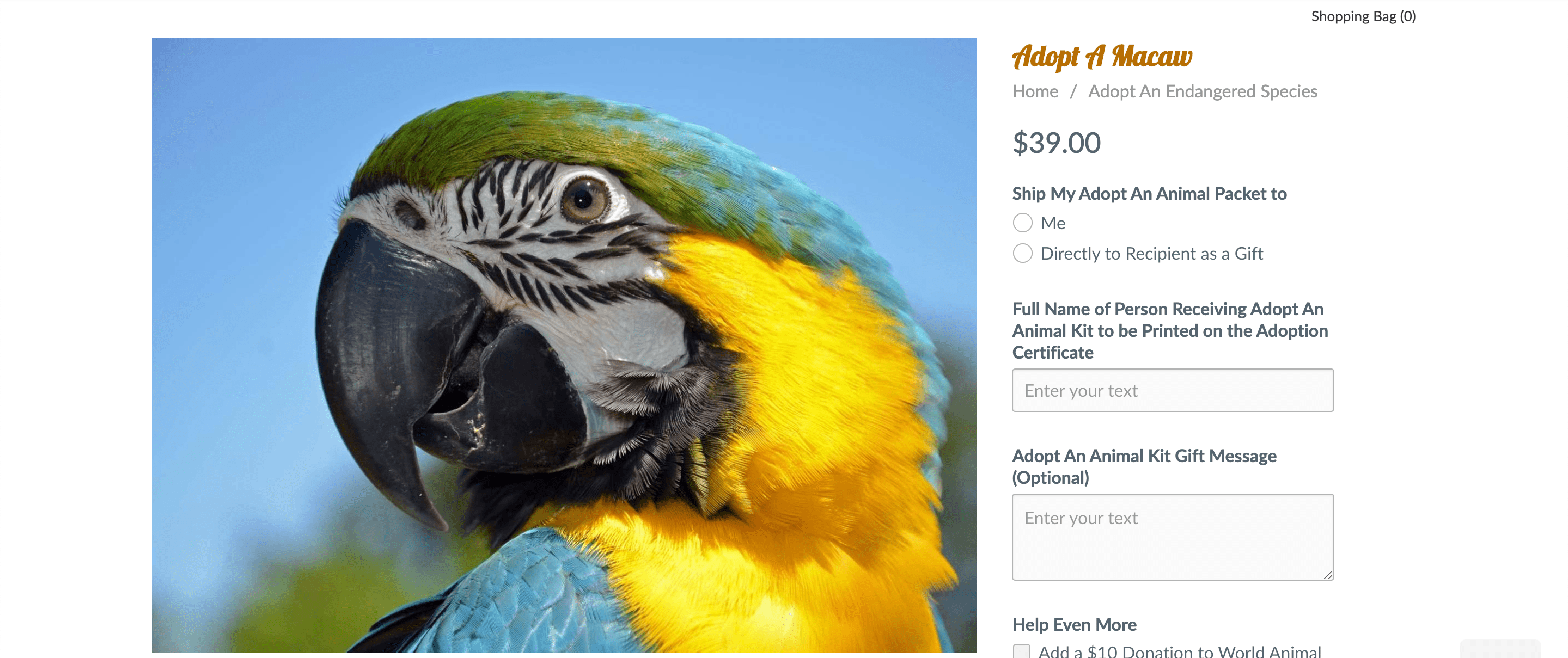example of adopt an animal offering for fundraising portfolio