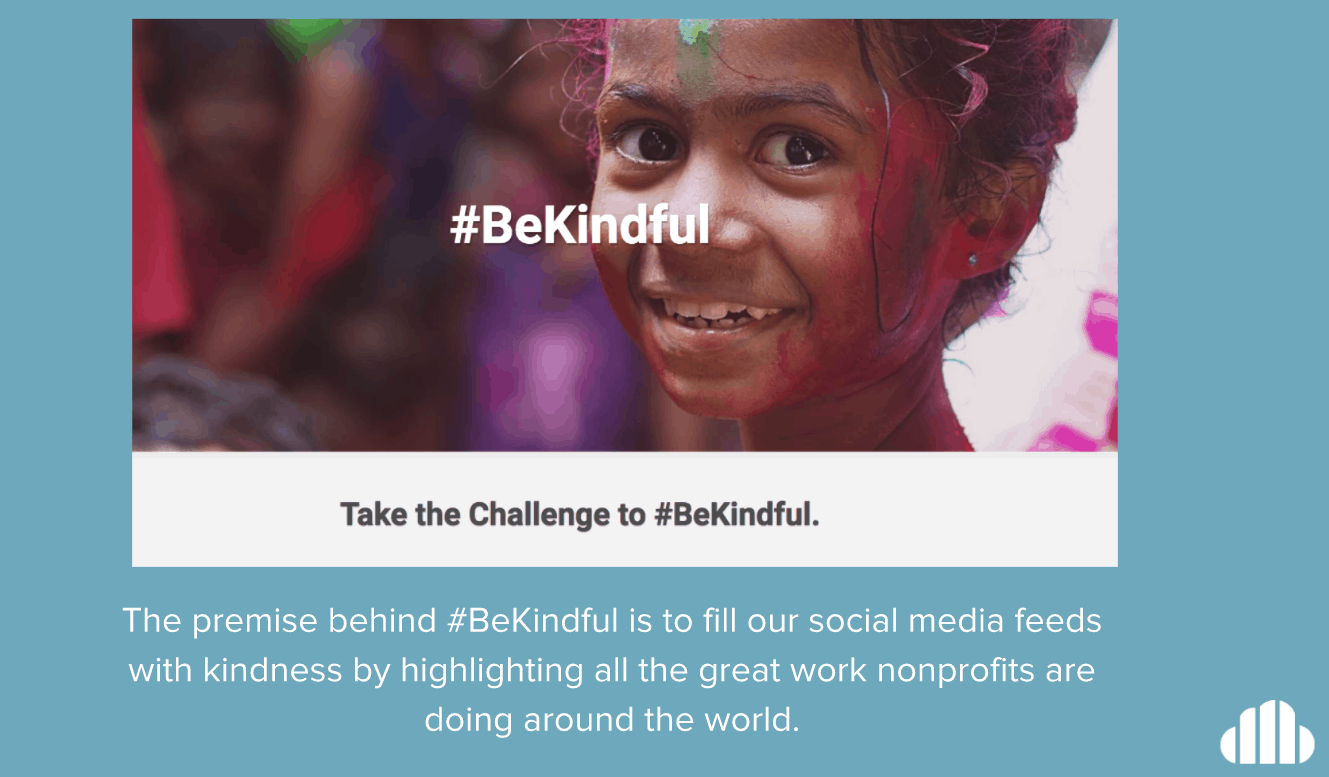 Photo of child, with text Take the Challenge to #bekindful