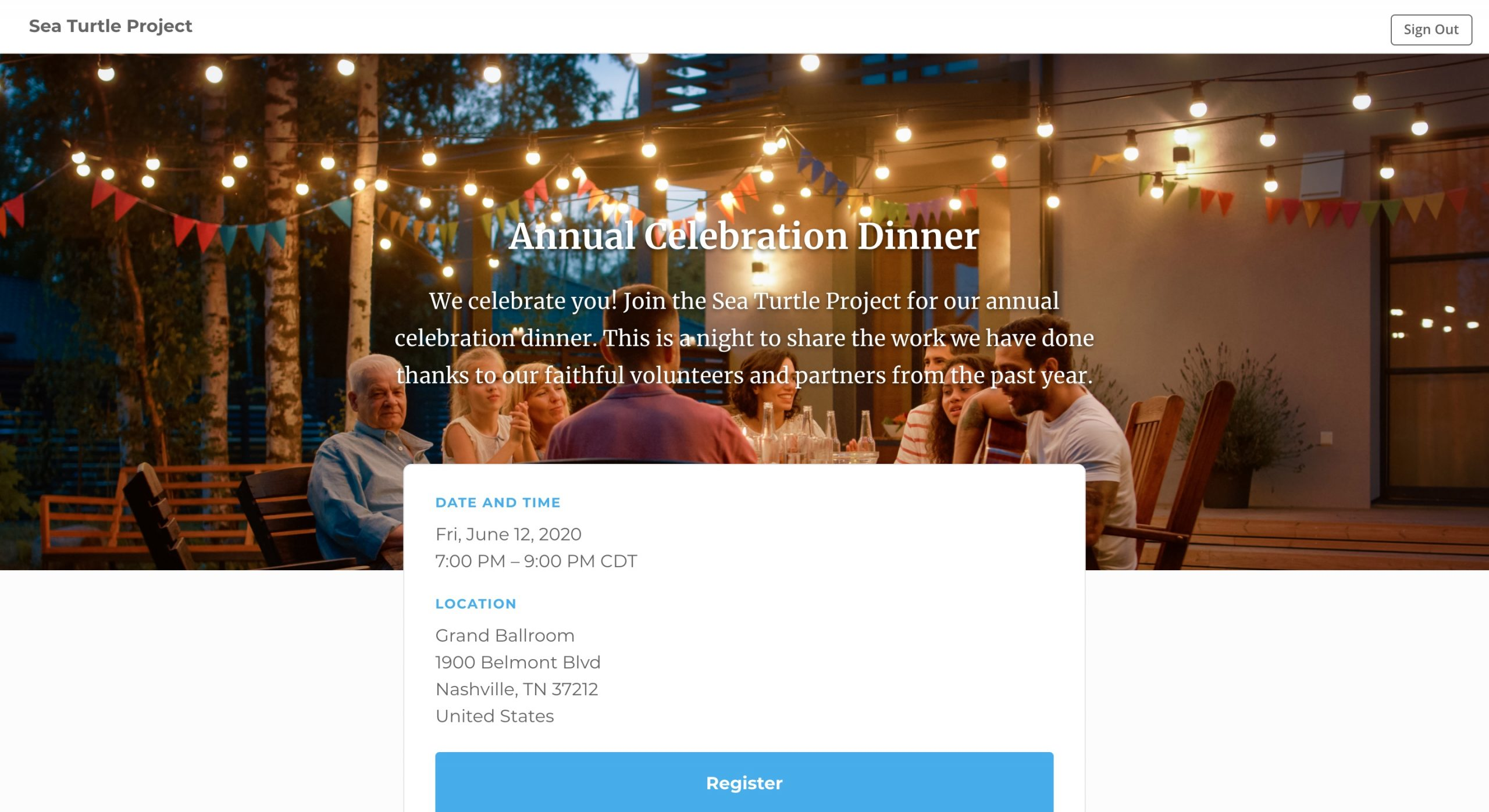 screenshot of kindful event registration landing page
