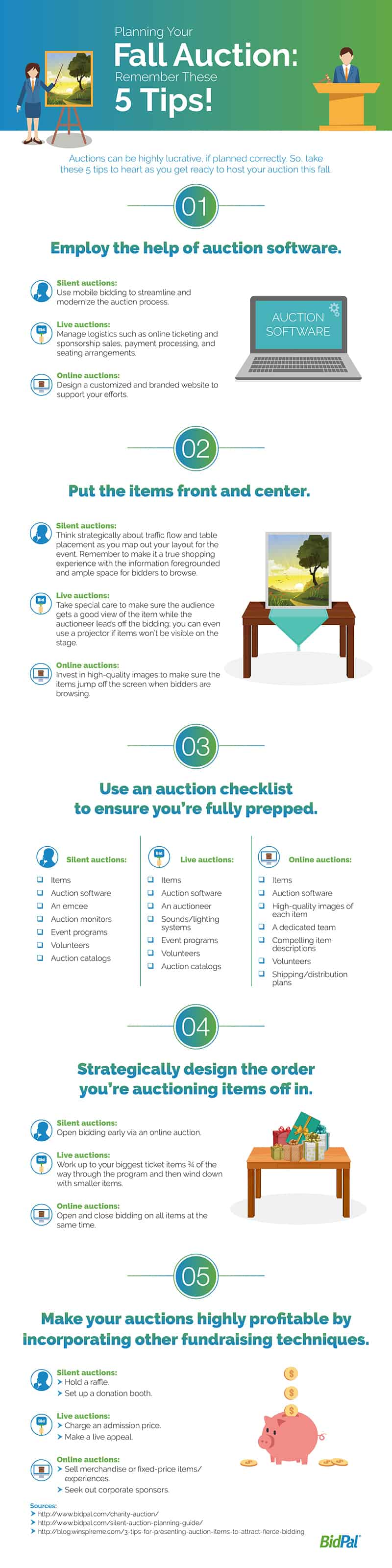 5 Tips for a Fall Auction 1. Employ the help of auction software 2. put the items front and center 3. use an auction checklist to ensure you're fully prepped 4. strategically design the order you're auctioning items off in 5. make your auctions highly profitable by incorporating other funding techniques
