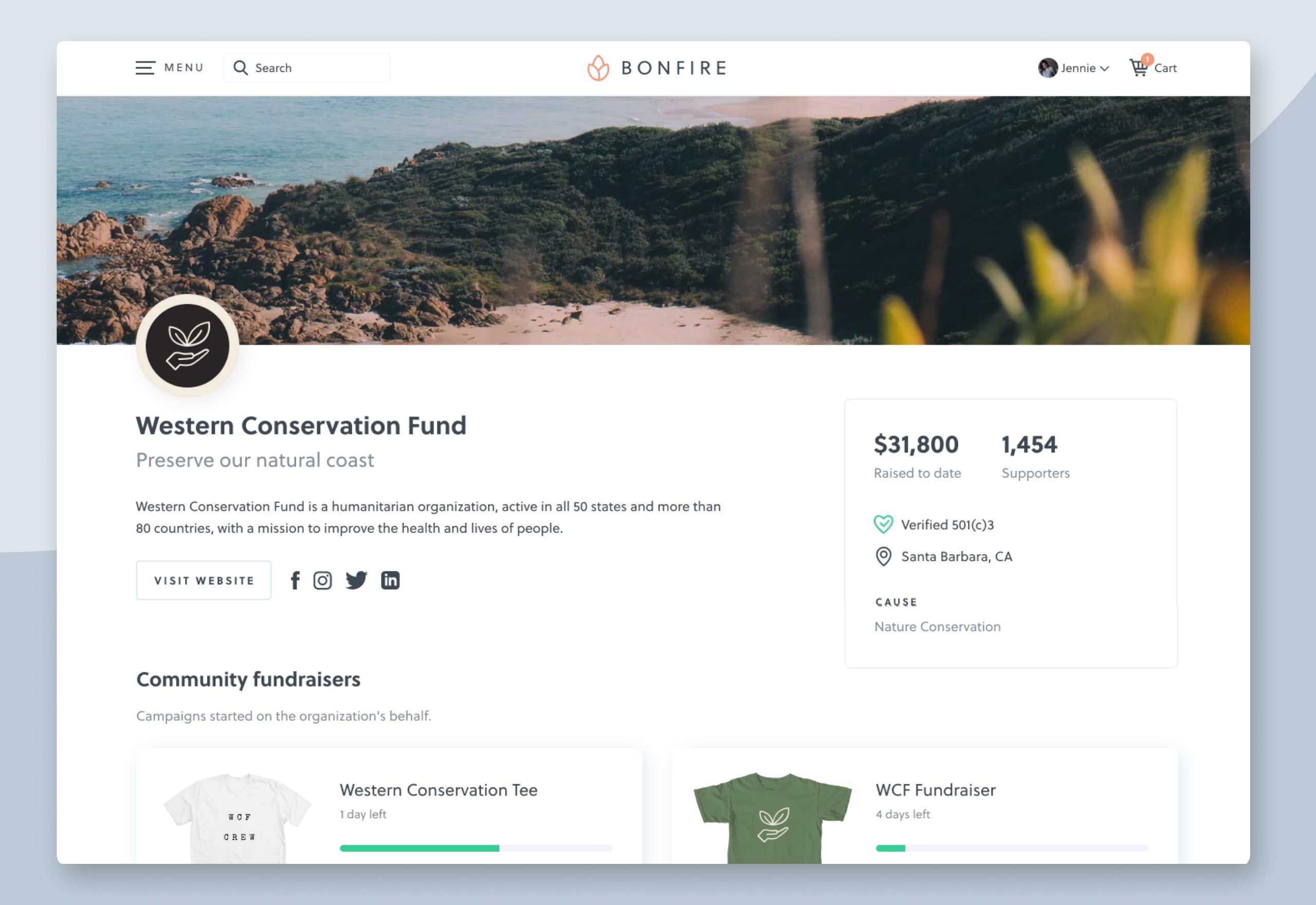 product image of bonfire peer to peer fundraising software