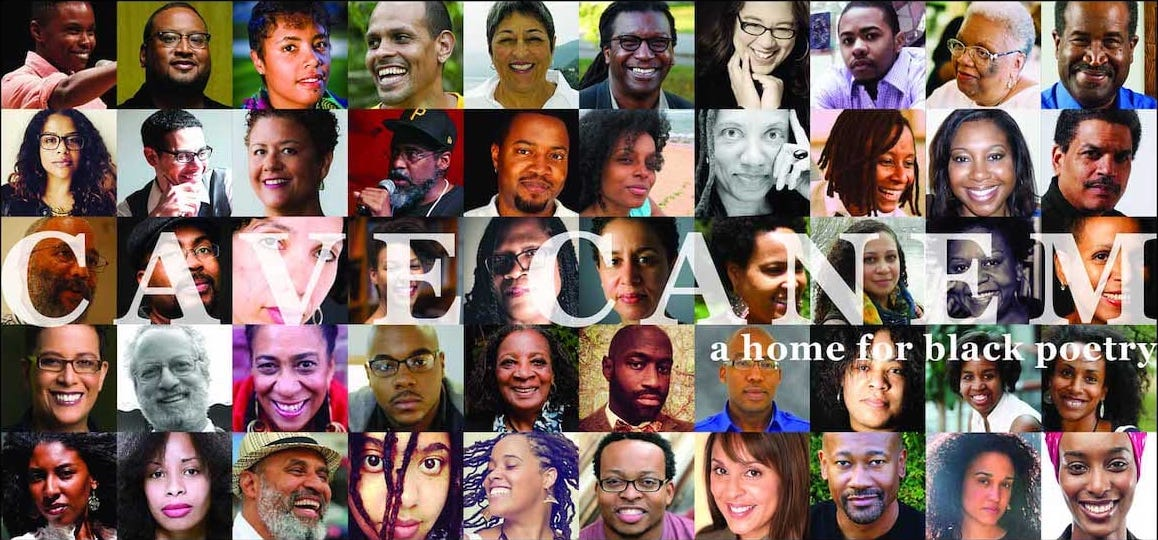 Collage of people of color with text overlay Cave Canem: A Home For Black Poetry