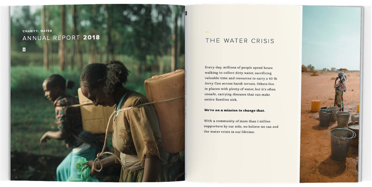 best nonprofit annual report example - charity: water