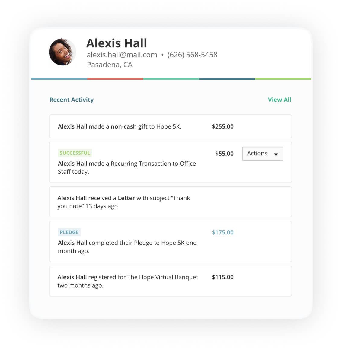 Contact profile of Alexis Hall, showing multiple online donations listed above and below her in-kind donation
