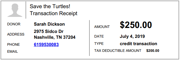 donation receipt for donations and non cash gifts