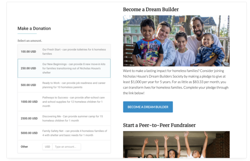 Example of a donation page embedded on a nonprofit website to help boost donations