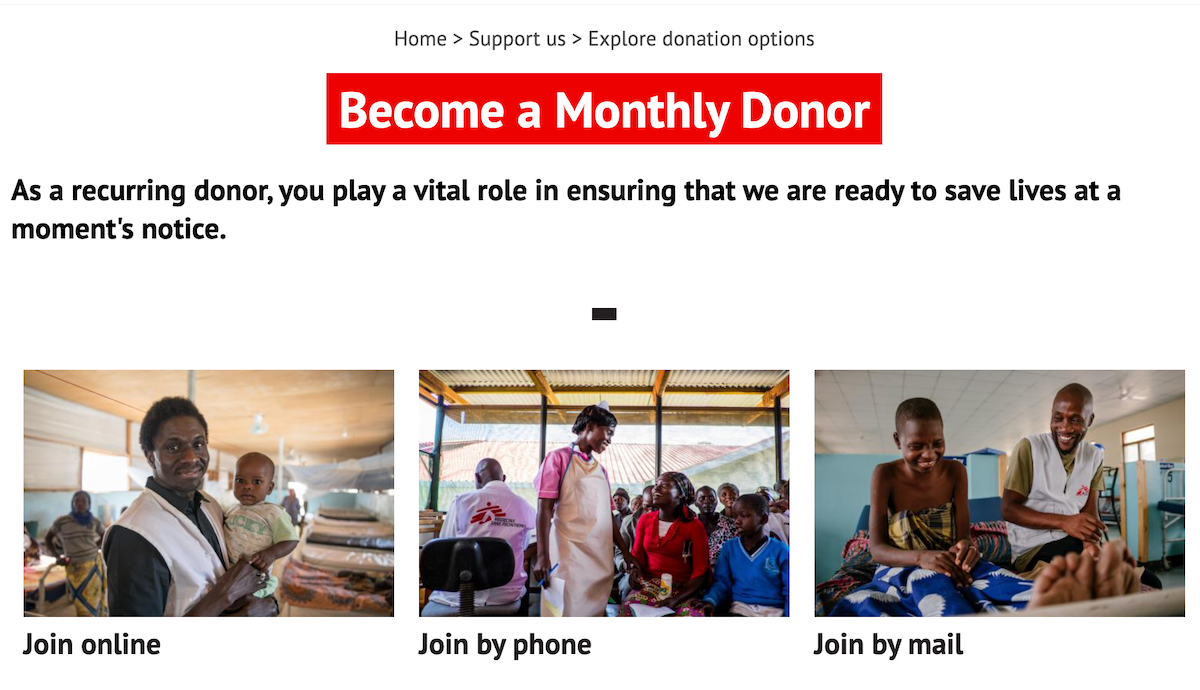 Screenshot of home page for Doctors Without Borders monthly giving program