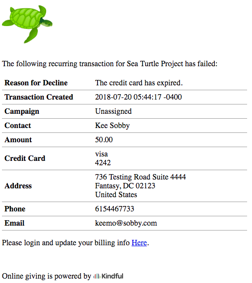 donation receipt for a failed transaction