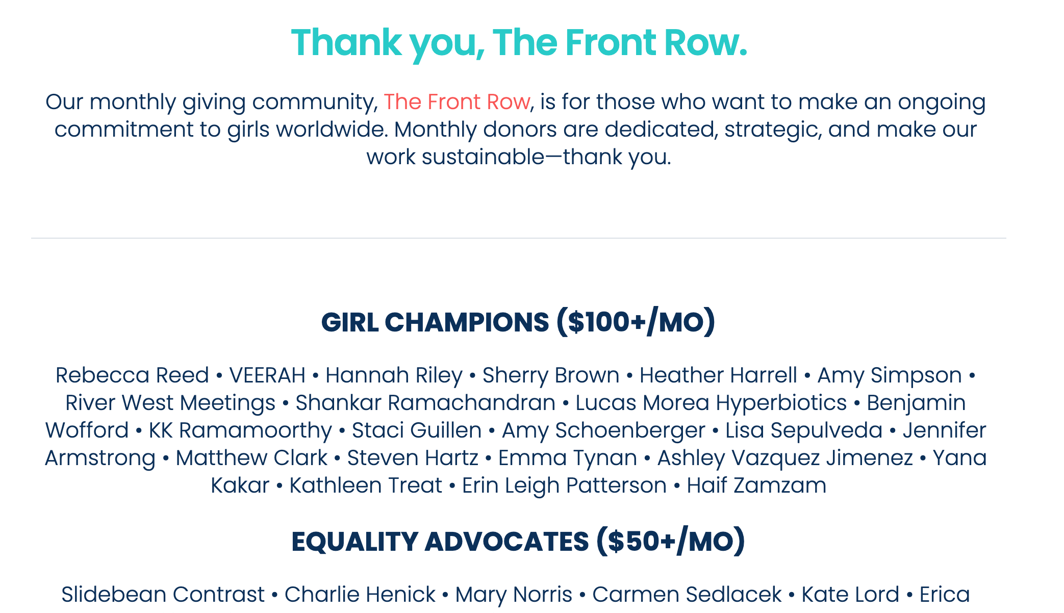 Screenshot showing donor level names for The Front Row monthly giving program