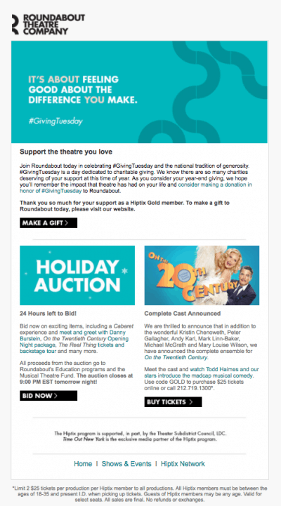 Roundabout Theatre nonprofit sample email
