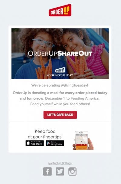 OrderUp GivingTuesday Email