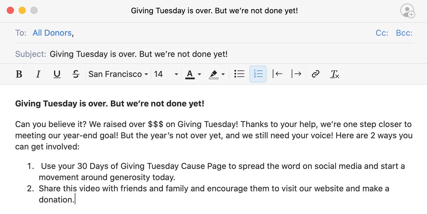 example giving tuesday thank you email