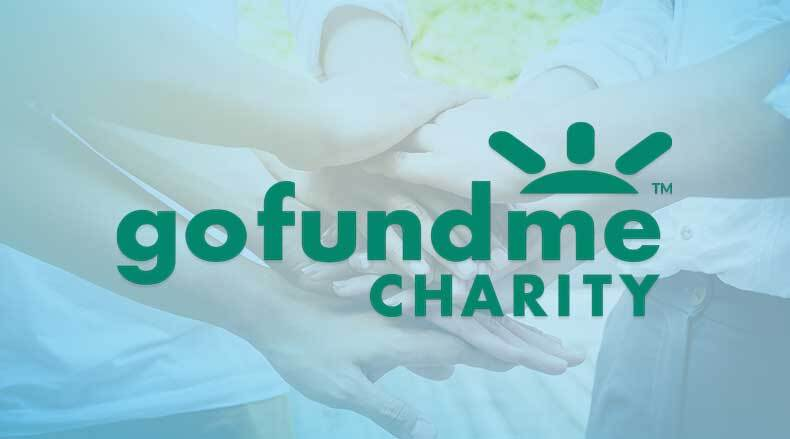 gofundme charity logo over image of team of hands stacked on top of each other
