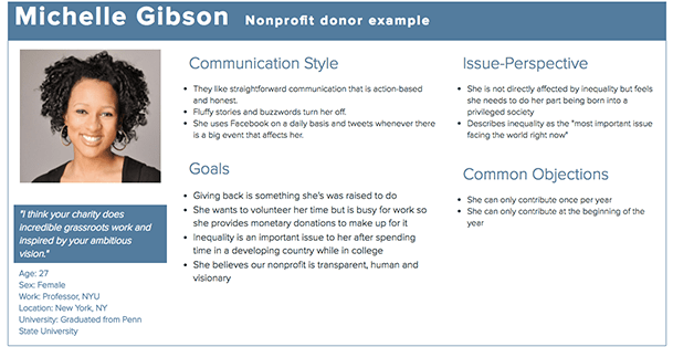 donor persona example