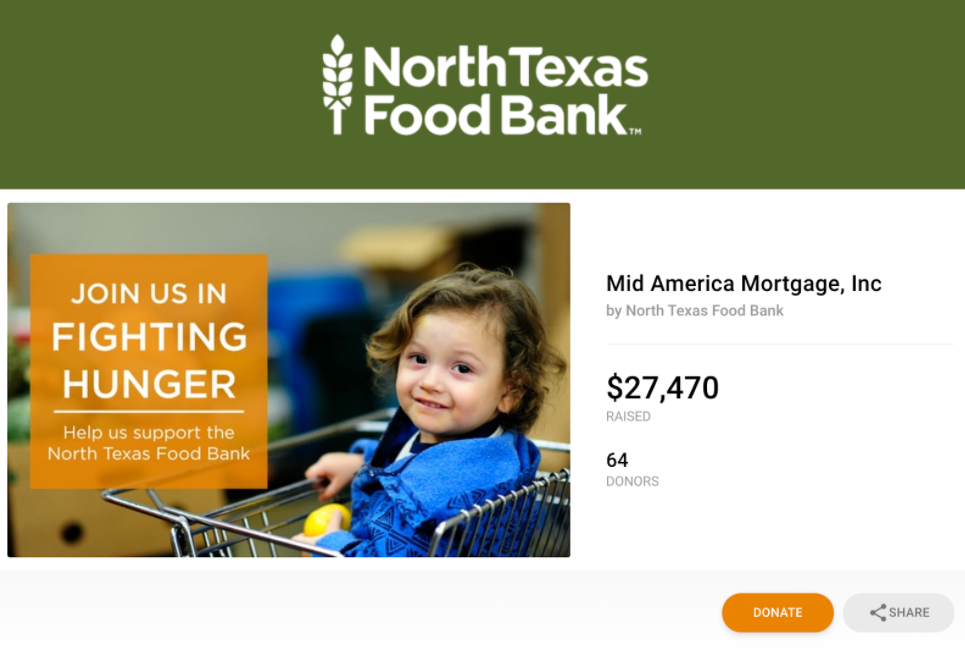 Example of North Texas Food Bank hosting a fundraising campaign in partnership with a local business