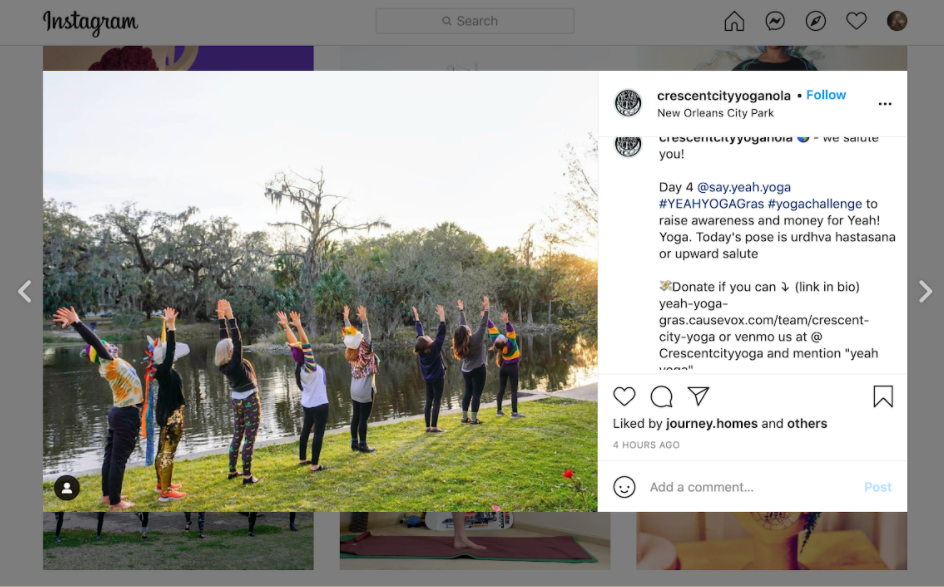 Nonprofit Instagram post encouraging followers to post a photo of a yoga pose with a donation to help boost their fundraising revenue