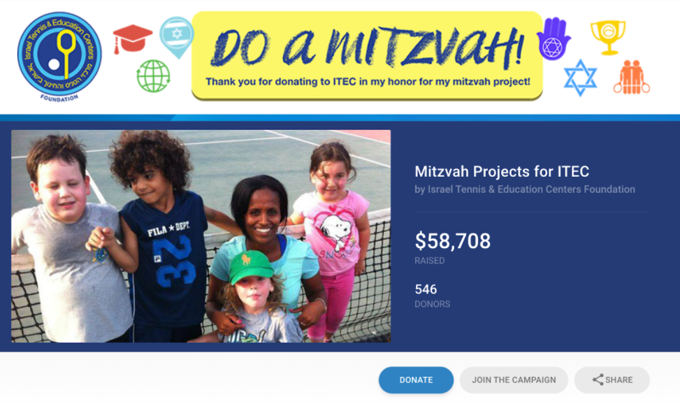 Example of Mitzvah crowdfunding campaign for a nonprofit