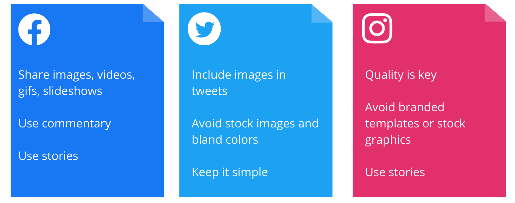 table comparison of facebook twitter instagram best practices for visuals in nonprofit social media strategy