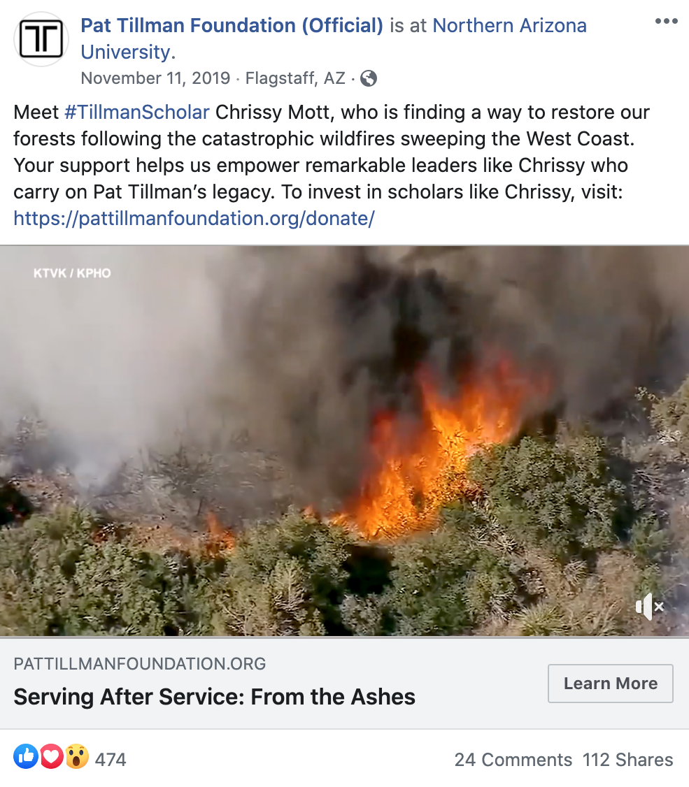 facebook example of beneficiary story with video to drive donations