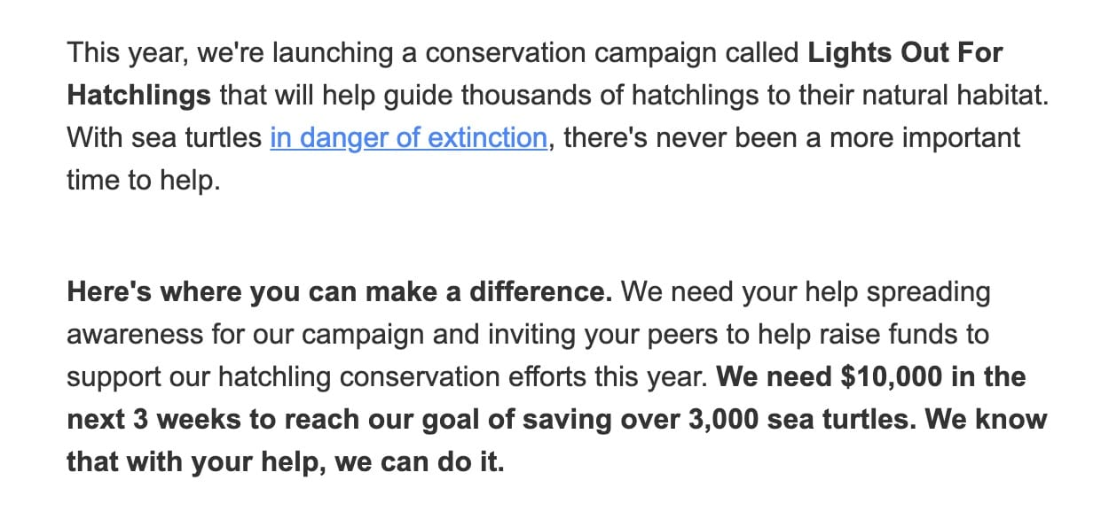 Peer to peer fundraising email body example