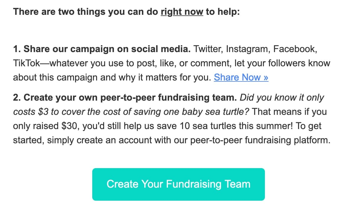 Peer to peer fundraising email call to action example
