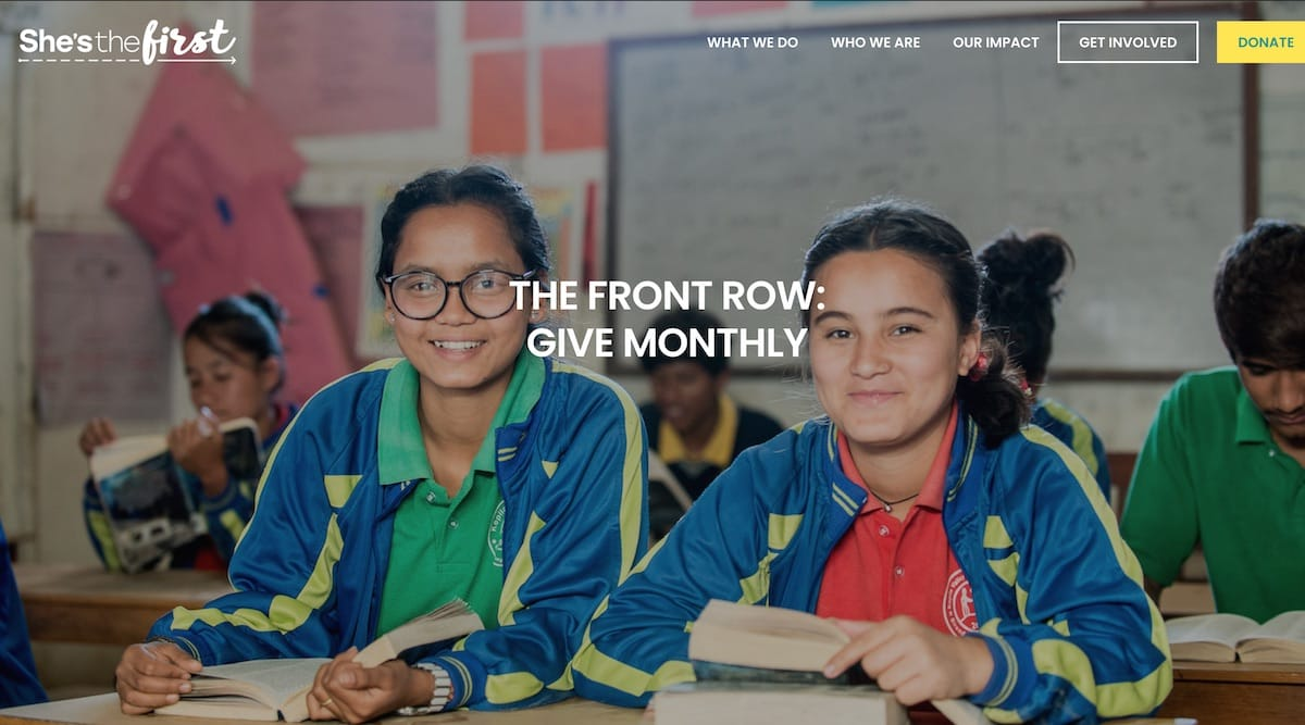 Screenshot of The Front Row home page for monthly givers