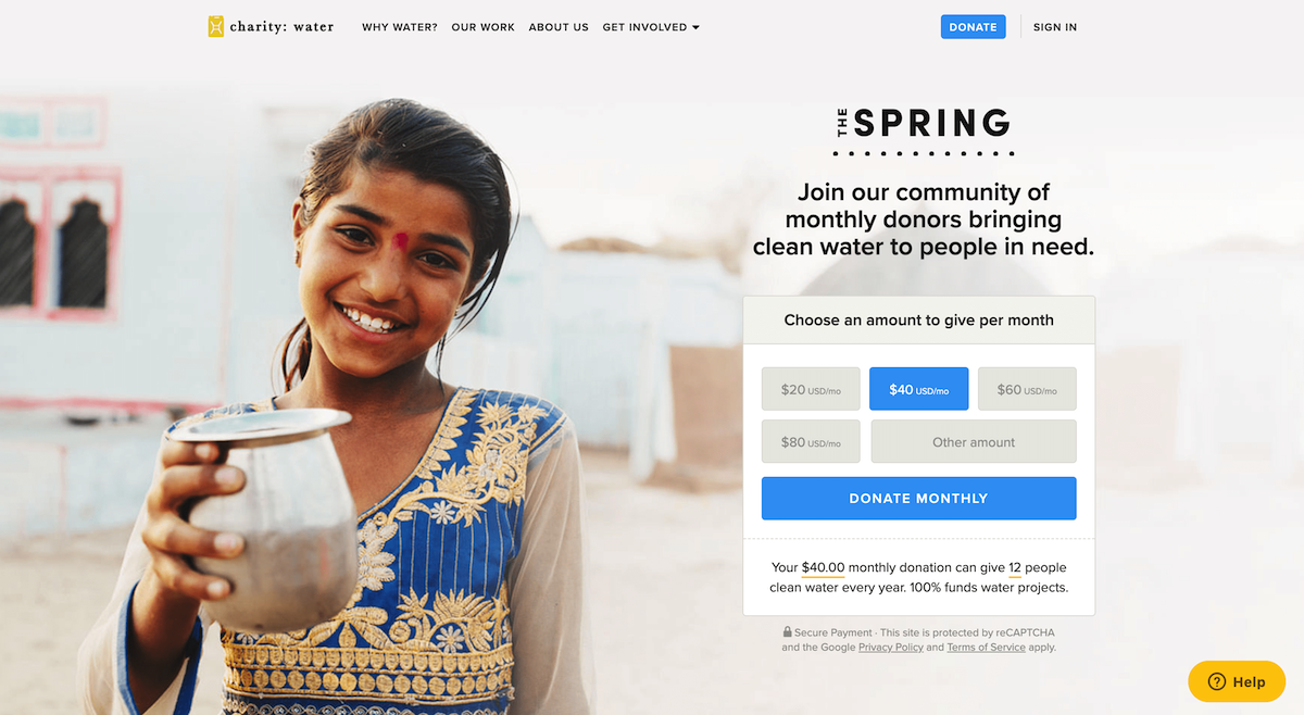 Screenshot of charity:water donation page for recurring donors.