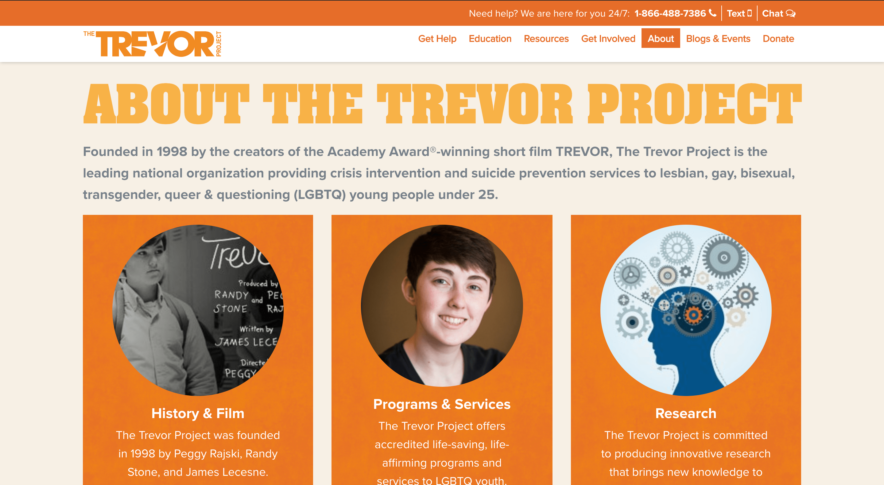 screenshot of trevor project website faq page