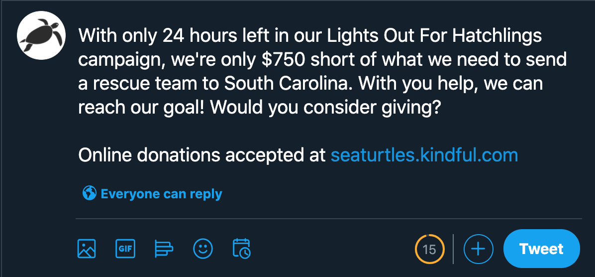example of nonprofit issuing fundraising appeal with tweet