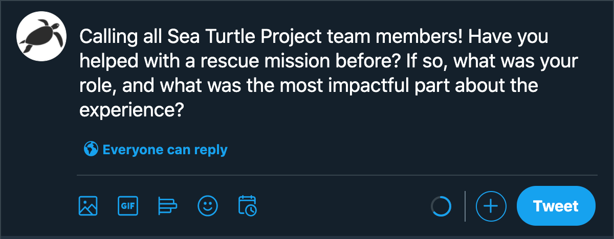 example nonprofit tweet with engaging question