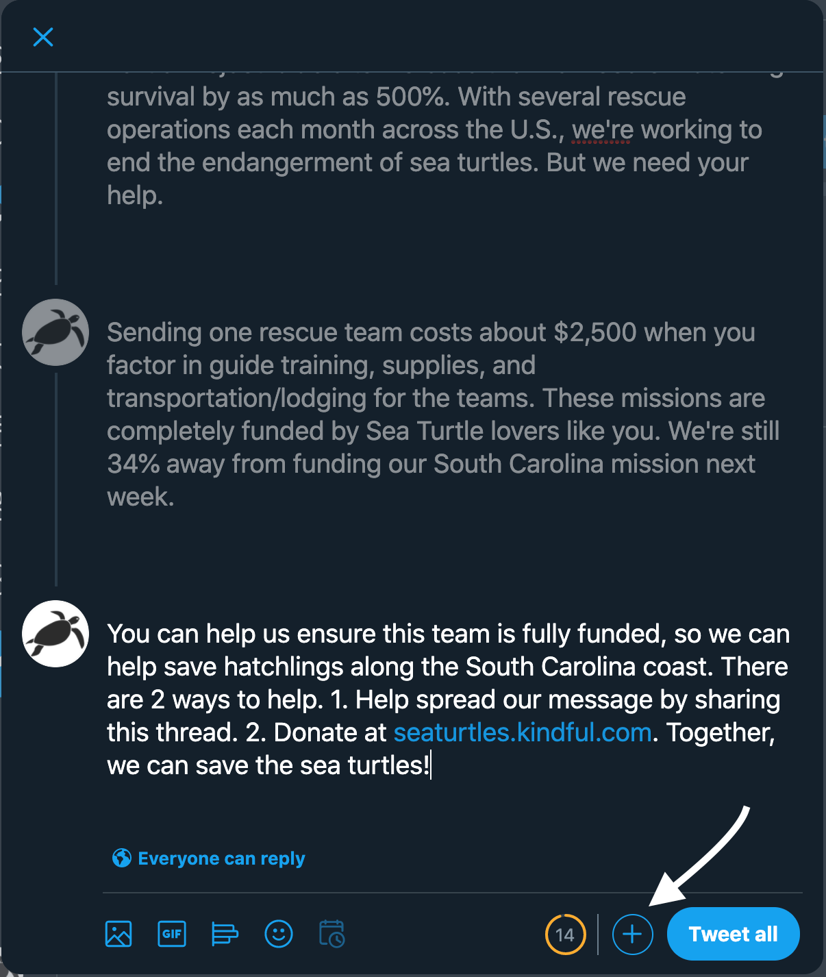 example of using a twitter thread to engage followers