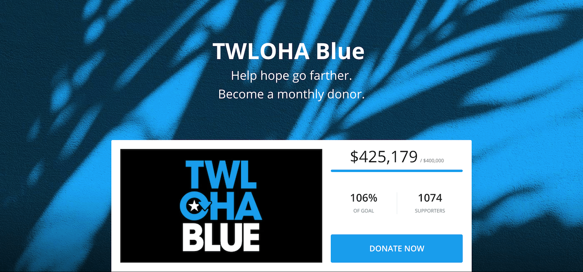 Screenshot showing TWLOHA donation page for their recurring donors. Fundraising thermometer shows goal progress of campaign.