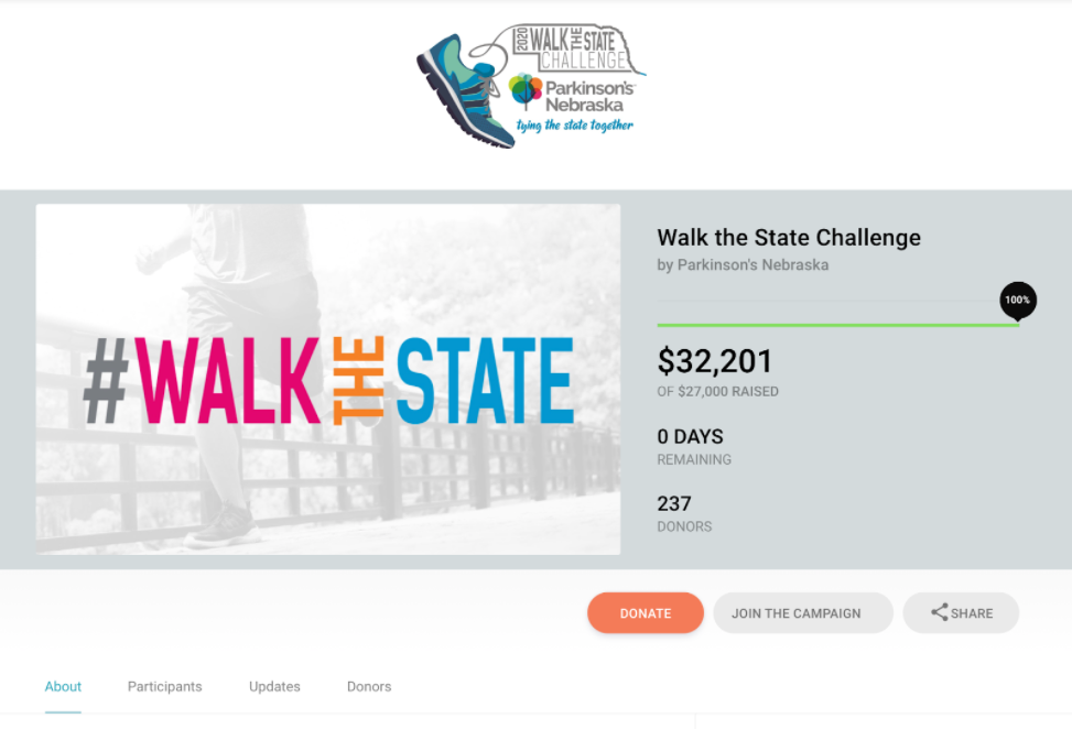 Example of a nonprofit virtual walkathon fundraising event page
