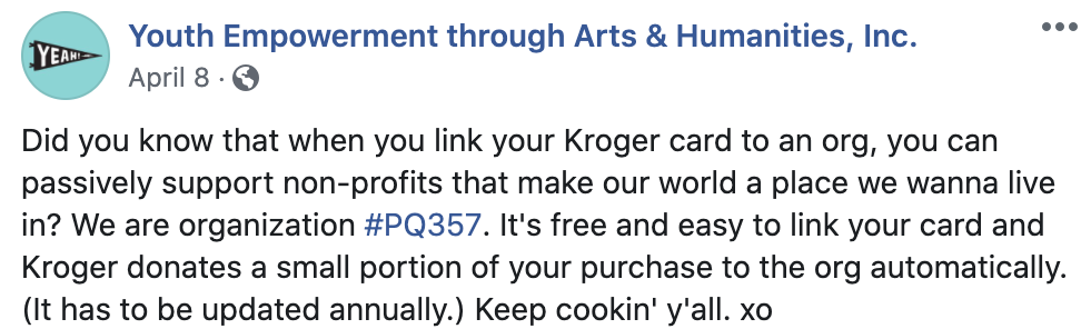 example of an indirect fundraising appeal with kroger corporate partnership
