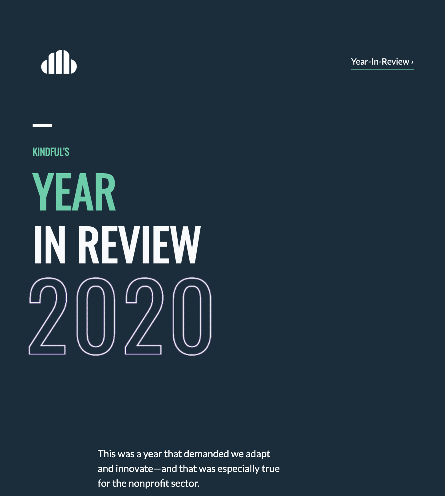 This is the full image of Kindful's 2020 Year-In-Review email, highlighting the stats from the above blog post.